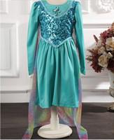 Cheap 2014 Frozen sequins Elsa Anna Princess character costume summer long sleeve dress christening Birthday Party dresses anime cosplay kids