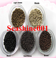 Wholesale 2014 New Hot Fashion set Black Silicone Micro Link Beads Rings for Feather Hair Extensions