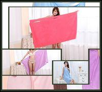 towel wrap - 60Pcs Women Absorbent Microfiber Shower Body SPA Bath Wrap Towel Bath Robe cm M45