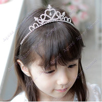 Wholesale Cute Princess Hair Band Tiara For Kids Girl Children Rhinestone Headband Silver SV001649