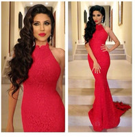 Wholesale Red High Neck Mermaid Lace Evening Dresses Backless Sleeveless Sweep Train Prom Dress Formal Gowns