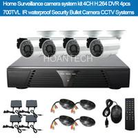 Wholesale Home Surveillance Camera Systerm Kit CH H DVR Sony TVL IR Waterproof Security Bullet Camera CCTV Systerm