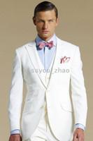 business wear - 2014 Groom Tuxedos White Formal Wear Wedding Party Groomsman Suit Men s slim fit Suit Jacket Pants Bowtie Vest business suits