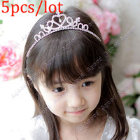 Wholesale 5pcs Cute Princess Hair Band Tiara For Kids Girl Children Rhinestone Headband Silver SV001649
