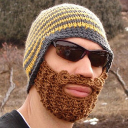 Wholesale S5Q Handmade Crochet Knit Beard Mustache Hat Mask Face Skiing Warm Winter Cap AAABDU