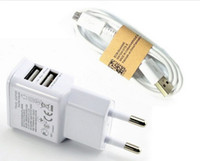 Wholesale Dual USB V A Wall Charger Adapter EU Plug Travel Power Port Micro USB Data Sync Cable for Samsung S4 I9500 Note for HTC
