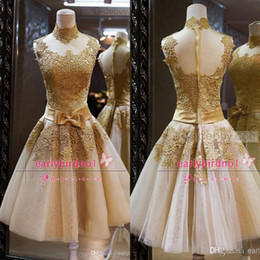 Wholesale Real Image Homecoming Dresses Sexy High Neck Gold Lace Organza Sheer Back Mini Short Summer Beach Garden Prom Cocktail Party Gowns BO5389
