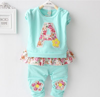 2014 New Autumn Sweet Lovely Baby Girls 2Pcs Sets Letter A F...