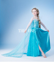 TuTu Summer A-Line frozen elsa blue dress kids costumes frozen dress new 2014 kids dresses for girls Frozen cloak gauze dress long sleeve dress girl princess