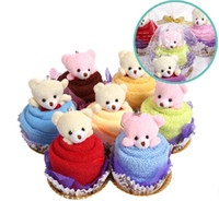 Wholesale Lovely Cupcake Towel with Bear Cake Towel Wedding Gift Birthday Crafts MJ09