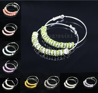 Wholesale 60mm lady s Basketball Wives Earring Big Hoop Circle Rhinestone Crystal Dangle Stud Bamboo
