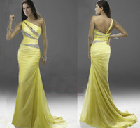Wholesale New yellow beaded long bridesmaid prom Formal Evening dresses Cocktail Party dress Ball Gown dress AB0028