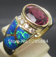 Cheap 2.80CT SOLID 18K YELLOW GOLD SPARKLY PINK TOURMALINE DIAMONDS WEDDING ENGAGEMENT & OPAL RING