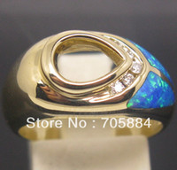 Cheap PEAR 7*9mm SOLID 14K YELLOW GOLD NATURAL DIAMONDS WEDDING & OPAL SEMI MOUNT SETTING RING