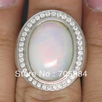 Gold Ring 18K 6.15CT Solid 18K white Gold Natural Gorgeous Colorful Opal Diamounds wedding engagement Ring