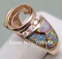Cheap SOLID 14K ROSE GOLD NATURAL DIAMONDS WEDDING ENGAGEMENT & OPAL SETTING SEMI RING MOUNT G090486