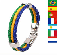 Wholesale Hot Brazil World Cup Soccer Multinational Commemorative Edition Braided Leather Bracelet Jewelry Z2526