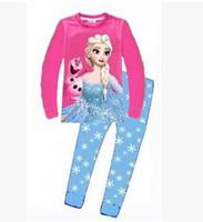 Unisex Spring / Autumn Long Retail New 2014 frozen baby girls clothing sets children kids boys summer pajamas child Anna Elsa princess clothes for 2-7T
