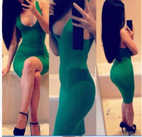 Wholesale Hot New Sexy Bodycon Dresses Plus Size Women s Clothing Plus Size Solid sexy dance club casual dress