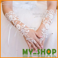 Cheap Wholesale - Bridal Gloves About 29cm Luxury Lace Diamond Flower Glove Hollow Wedding Dress Accessories HQ0900