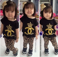 Wholesale 2014 Summer Children Korean Clothing Girls Sets Crown Short Sleevel T Shirt Tops Leopard Print Leggings Cotton Outfits Clothes K0271