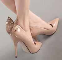 Wholesale Celeb style fantastic nude butterfly stiletto heel pumps patent leather pumps sexy high heels office shoes size to