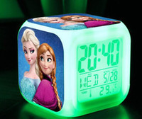 Wholesale 20pcs free shpping New LED Colors Change Digital Alarm Clock Frozen Anna and Elsa Thermometer Night Colorful Glowing Clock