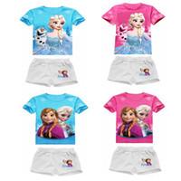 Girl Summer Short Baby Girl Frozen Summer Clothing Sets Girl's Frozen Short sleeve T Shirt + Short Pants Suits Kids Sets Children Frozen Shorts