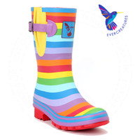 Wholesale Evercreatures Rainbow Wellies Short high quality gumboots r rubber riding bootsain boots Wellies for women EU size
