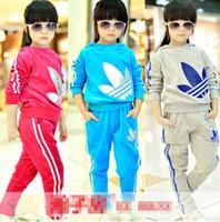 Wholesale 2014 Unisex Casual Children Outfits Boy Girl s Long Sleeve Hoodie Sets Sport Training Suit Cotton Sweater Shirt Pant Set Sets K0274