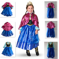 TuTu Summer Ball Gown New girls anna frozen dress kids Anna costume cosplay blue girls dresses with cape girls dress frozen clothes kids