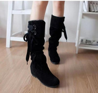 Wholesale 2014 autum women s flat heel boots Matte fabric cross straps casual woman shoes For Women Scrub Upper Stretch Fabric Slim Boot