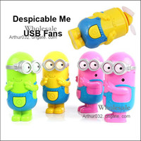 Wholesale Despicable Me USB Battery Charging Fans D Design Cartoon Rechargeable Children Small Fan Smile Big Eye Minions Skin Portable Easy to Carry