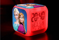 Wholesale Retail And New LED Colors Change Digital Alarm Clock frozen Anna and Elsa Night Colorful Glowing Toys