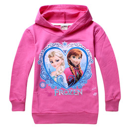 Wholesale 2014 New Hot Sell Frozen Clothes Elsa Princess Cotton Children Hoodies for Girls Cartoon T shirt Baby Kids Tops