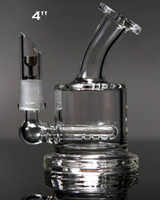 Mini-bong en ligne Avis-Meilleure qualité des tuyaux d'eau à deux fonctions clair Mini bubbler verre ash catcher en ligne percolateur eau pipe pétrolier bong livraison gratuite