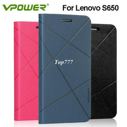 Wholesale For lenovo s650 leather case Vpower Art series for lenovo s650 case with free screen protector retail packing