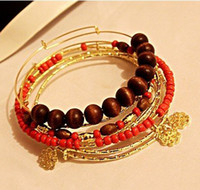 Cheap 12 pcs lot free shipping 2011 new design Set of 7 bangles Mulit-Strand seed beads wooden beads Charm Bangles Bracelets B11018