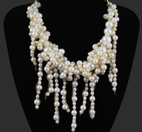 beige pearl necklace - New Lady s Pearl Necklace Weave Pendant Pearl Statement Choker Beige Colors Exaggerated Pattern