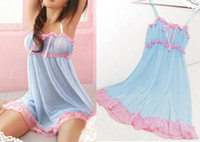 Woman nighties - Sexy Blue Pink BABYDOLL Nightwear Lingerie Underwear Dress Chemise Nightie G STRING Super Sexy