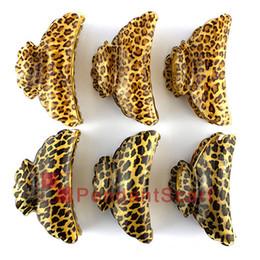 Clips de leopardo joyería 12PCS / LOT del pelo de la manera impresa de las mujeres Hairwear acrílico garras del pelo de los accesorios del pelo de mandíbula JW0008 desde la mandíbula para el cabello fabricantes
