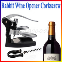 Cheap Free Shipping New 1 Set Rabbit shape Red Wine Opener Tool Kit Cork Bottle Tire Corkscrew Collar Pourer Gift Wholesale