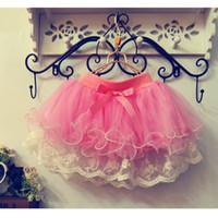 Cheap baby girl kids little flower tutu skirt floral tutu skirt lace skirt tulle layer fluffy pleated pleats pettiskirt princess shorts ribbon 4