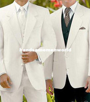 Cheap Free Shipping!Best White wedding Groom weare Tuxedos Notch Lapel Groomsmen Men's Wedding suits for men custom made cheap dressfree shipping