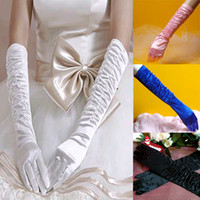 Wholesale quot Long STRETCH Satin Bridal Wedding Prom Party Costume Opera Gloves Multicolor HQ0012 Drop shipping
