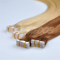 Wholesale 6A Grade Brazilian Human Remy Hair Tape hair extension Remy Straight Hair Dark Brown PU Skin Weft Hair Extension pc set sets