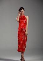 traditional chinese wedding dress - hot sale chinese traditional Red evening Dresses Traditional Chinese clothing Halter dress wedding dress cheongsam qipao JY028