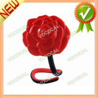 Wholesale Beautiful D Rose Pattern Flexible Compact Cosmetic Stand Table Mirror Red Dropshipping