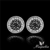 Wholesale 2014 Fashion Hip Hop White and Black Crystal Round Stud Earring Platinum Brand Earring For Men MM M02