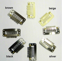 Wholesale Silver Clip Hair Extensions - 100pcs lot,hair clip with 9 teeths Metal clip,Snap clip for hair weave 33mm color 4 colors can choose